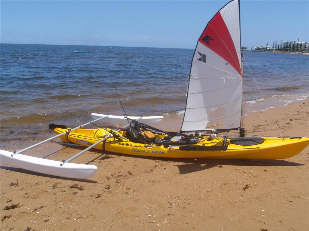 , really likes the way the Kayaksailor works with his Ocean Kayak 4